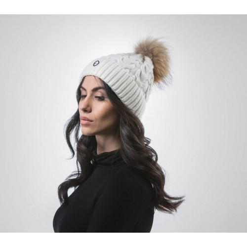 Haute Acorn -  White Beanie With Fur Pom Pom