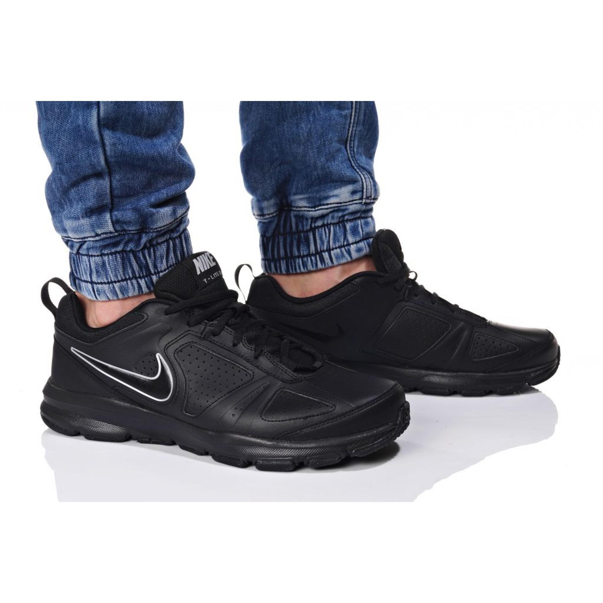 Men Nike T-Lite Xi Total Black 616544-007 Ανδρικό Μαύρο Δερμάτινο 2723518ad1e