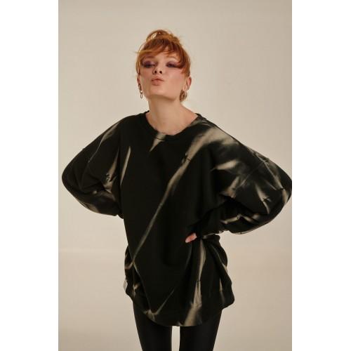 PCP Women's Crewneck Sweatshirt Tie-Dye Hoodie Black Beige - Γυναικείο Crewneck Φούτερ Tie-Dye Μαύρο/Μπεζ