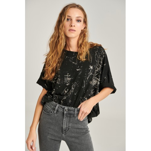 PCP x Staff Women's Tie-Dye T-shirt Black Bleach