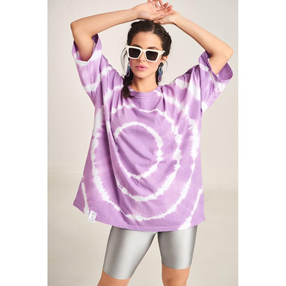 PCP Women's Tie-Dye T-shirt Circles Lilac | Tie-Dye Μπλουζάκι Circles Λιλά