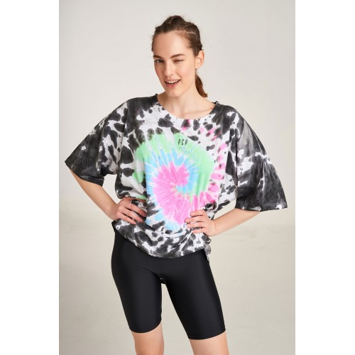 PCP Women's Tie-Dye T-shirt Rave Black   Tie-Dye Μπλουζάκι Rave Μαύρο