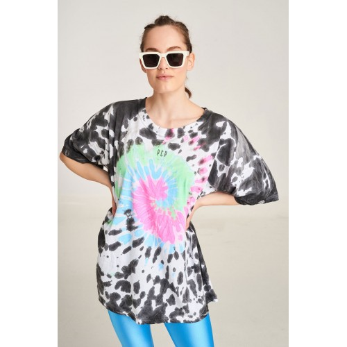 PCP Women's Tie-Dye T-shirt Rave Black | Tie-Dye Μπλουζάκι Rave Μαύρο