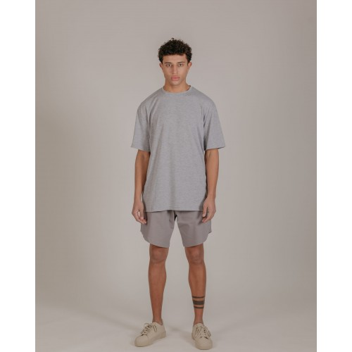 NÉ EN AOÛT Oblique cut shorts in grey