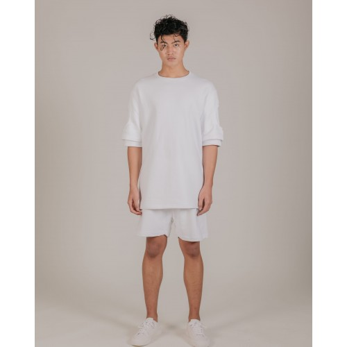 NÉ EN AOÛT Sweat fabric shorts with ribbed detail in white